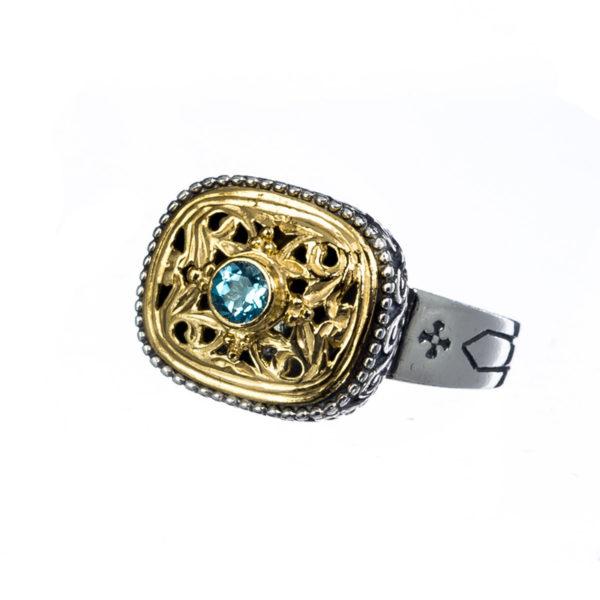 Sterling Silver Medieval-Byzantine Single Stone Ring