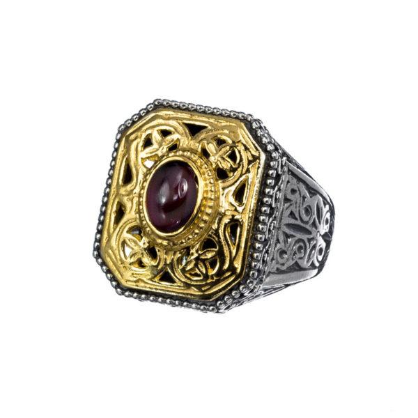 Sterling Silver & Garnet Medieval-Byzantine Chevalier Ring