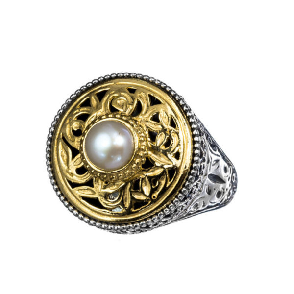 Sterling Silver Medieval-Byzantine Single Stone Round Ring