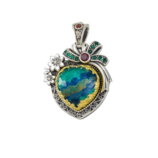 Sterling Silver Heart pendant with Gold Plated Parts.
