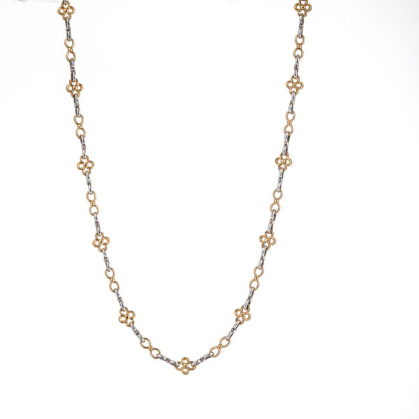 Sterling Silver with Gold Plated Parts Medieval-Byzantine Chain Necklace