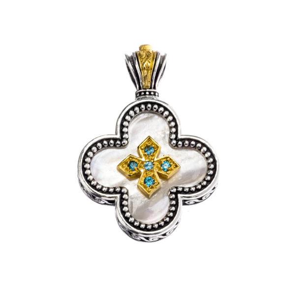Gerochristo Sterling Silver & Stones Medieval-Byzantine Cross Pendant