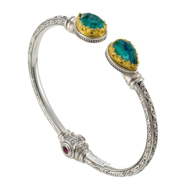 Gerochristo Sterling Silver & AZURITE Medieval Cuff Bracelet