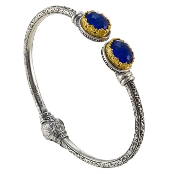 Gerochristo Sterling Silver & LAPIS Medieval Cuff Bracelet