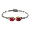 Gerochristo Sterling Silver & RUBY Medieval Cuff Bracelet