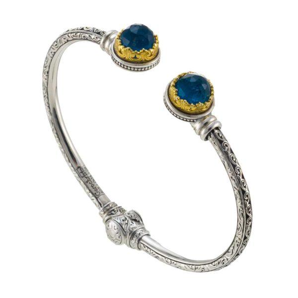 Gerochristo Sterling Silver & APATITE Medieval Cuff Bracelet