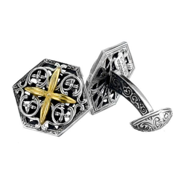Sterling Silver Medieval-Byzantine Cross Cufflinks