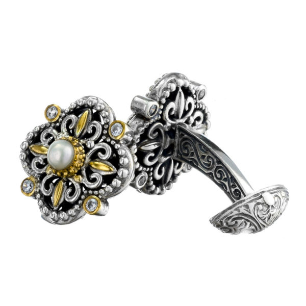 Sterling Silver & Stones Byzantine-Medieval Quatrefoil Cufflinks