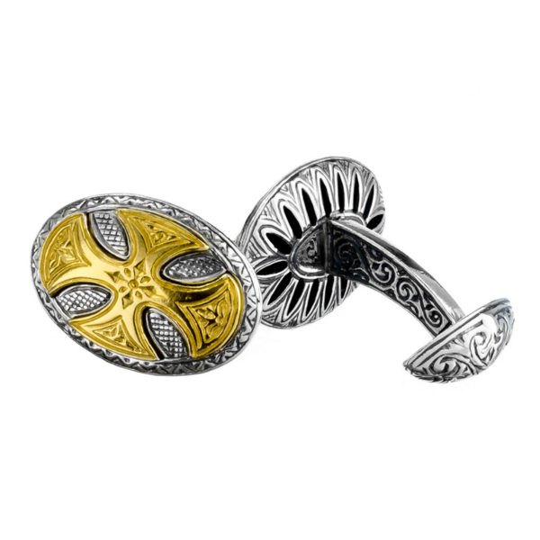 Sterling Silver Medieval Large Cross Cufflinks