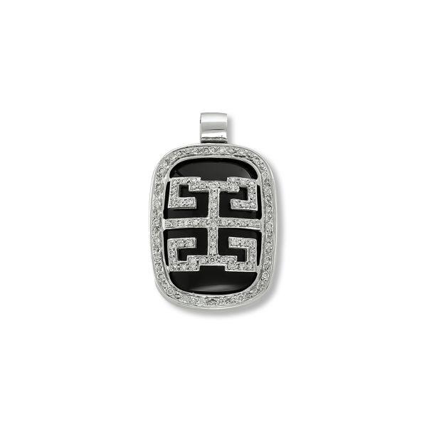 18K white Gold, handmade, Onyx and Diamond pendant.