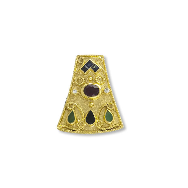 18K Gold, Handmade, Byzantine, Ruby, Emeralds, Saphires and Diamonds pendant.