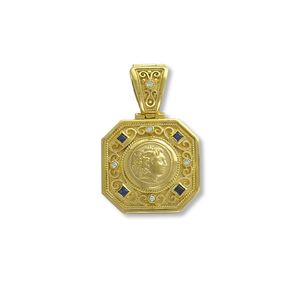 18K Gold, handmade, Byzantine coin pendant with Saphires and Diamonds.