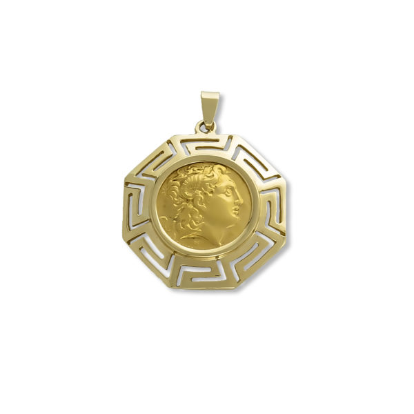 14K Gold coin pendant with Greek key.