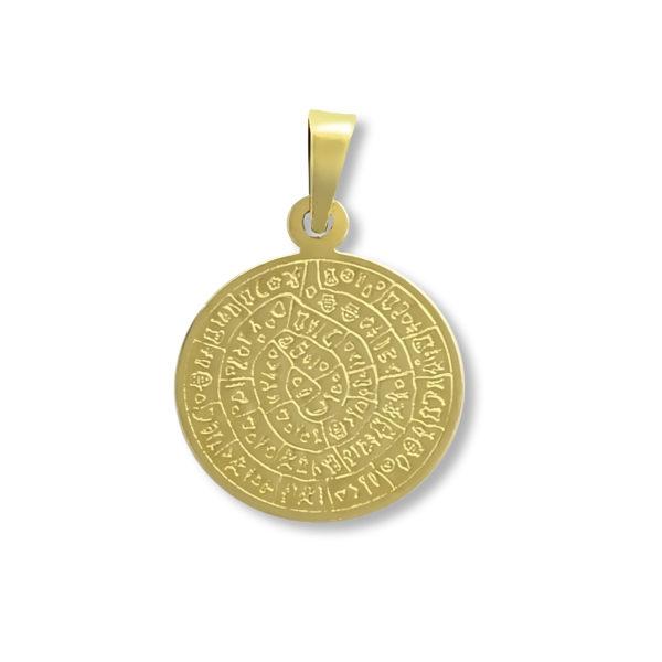 14K Gold, handmade, Phaistos disk pendant.