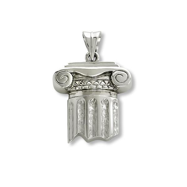 14K white Gold, handmade, Greek column pendant.