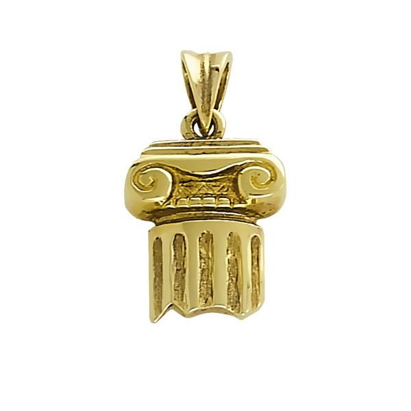 14K Gold, handmade, Greek column pendant.