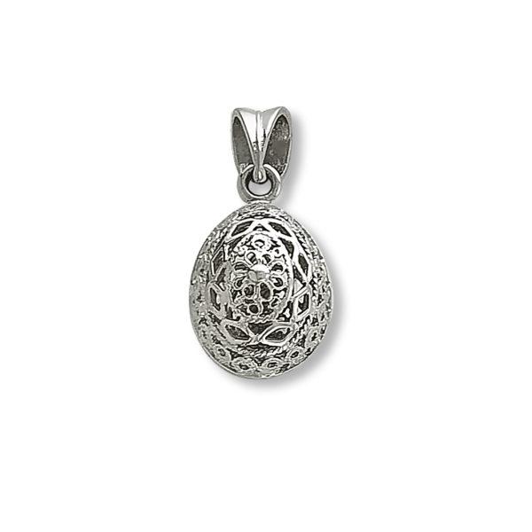 14K white Gold, handmade, Byzantine egg pendant.