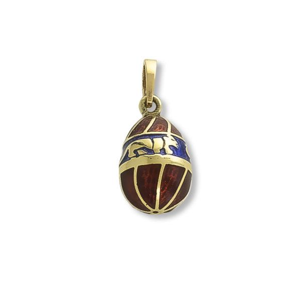 14K Gold, Byzantine, handmade egg pendant with enamel.