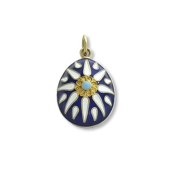 18K Gold, handmade, Byzantine, enamel egg pendant.