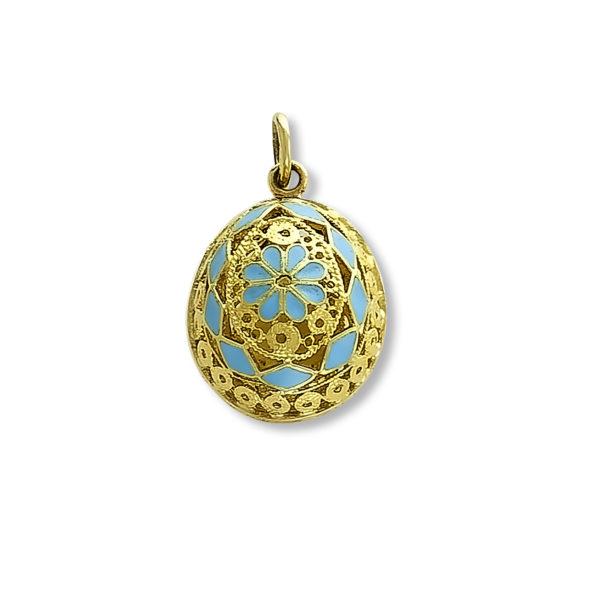 14K Gold, Byzantine, handmade egg pendant.
