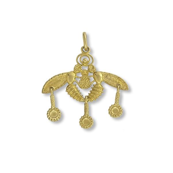 14K Gold, handmade, Byzantine, pin/pendant.