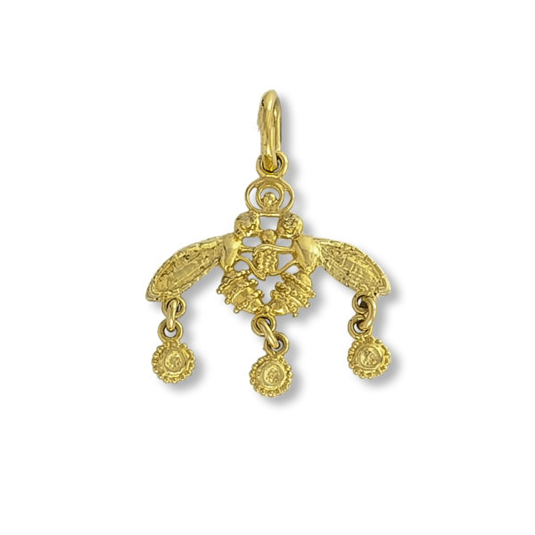 14K Gold, handmade, Byzantine pendant.