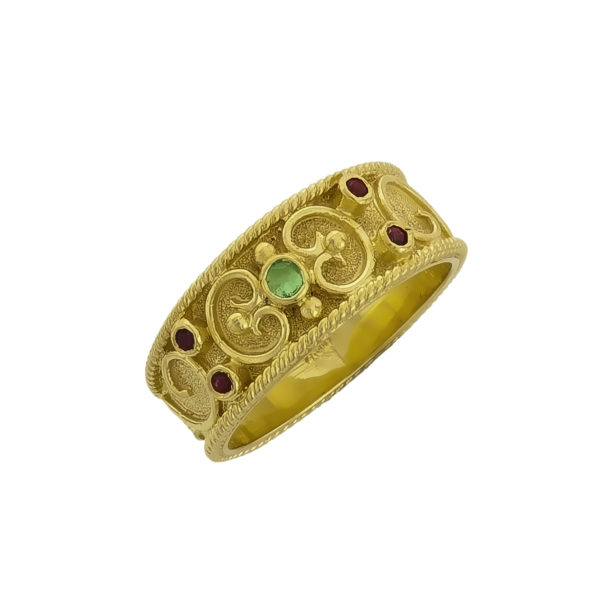 18K Gold handmade, Byzantine ring, with Rubies and Emerald.