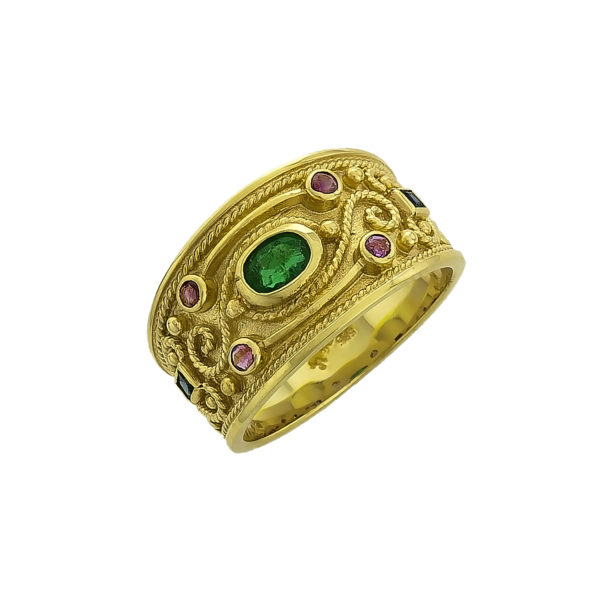 14K Gold, Byzantine, handmade ring with Emerald, Rubies and Saphires.