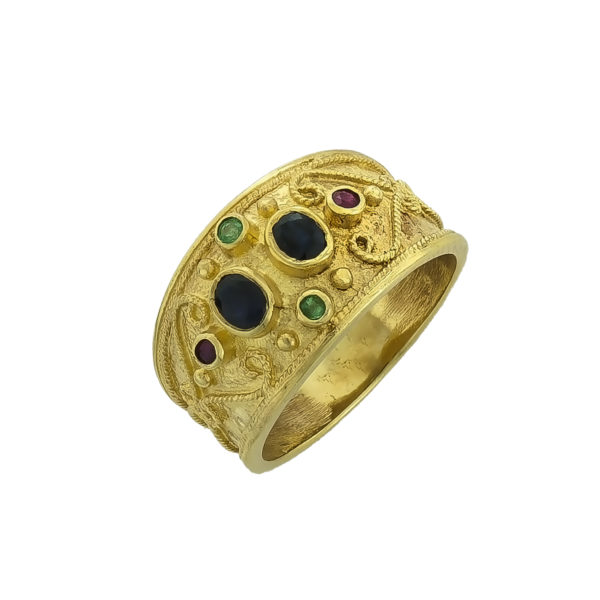 14K Gold, handmade, byzantine ring with Saphires, Emerlads and Rubies.