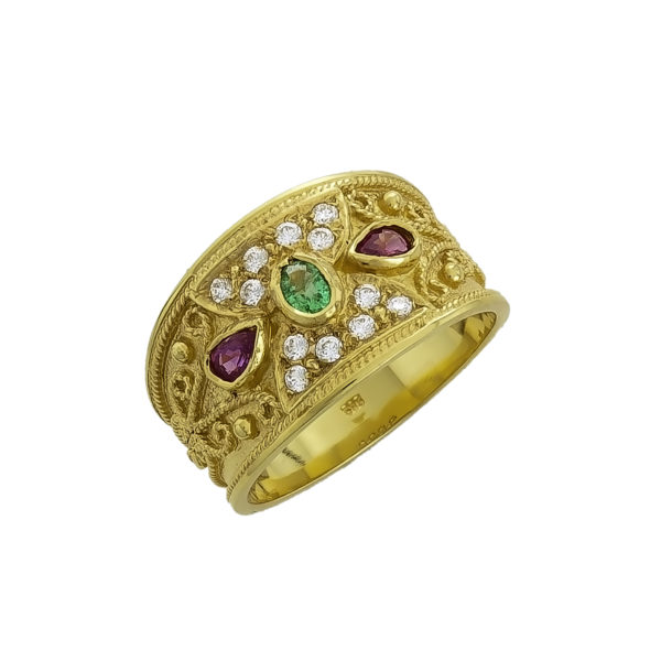 14K Gold, handmade, Byzantine ring with Emerald, Rubies and Diamonds.