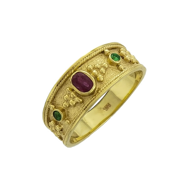 14K Gold, Byzantine, handmade ring with Emerald and Rubies.