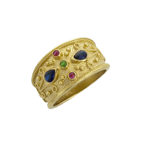 14K Gold, handmade, Byzantine ring with Sapphires, Rubies and Emerald.