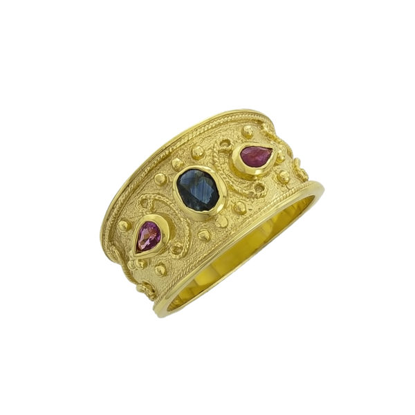 14K Gold, handmade, Byzantine ring with Saphire and Rubies.