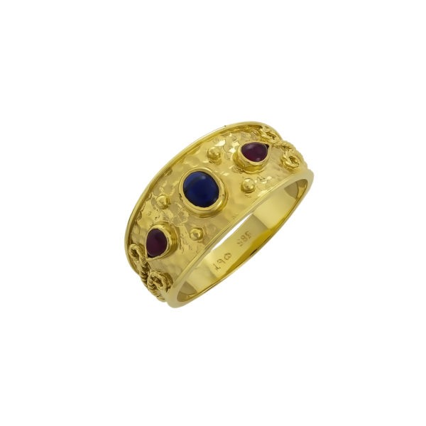 14K Gold, Byzantine, handmade ring with Sapphires and Rubies.