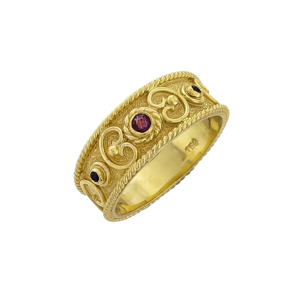 18K Gold, handmade Byzantine ring with Ruby and Sapphires.