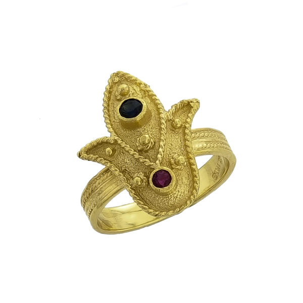 18K Gold, handmade, Byzantine ring with Ruby and Sapphire.