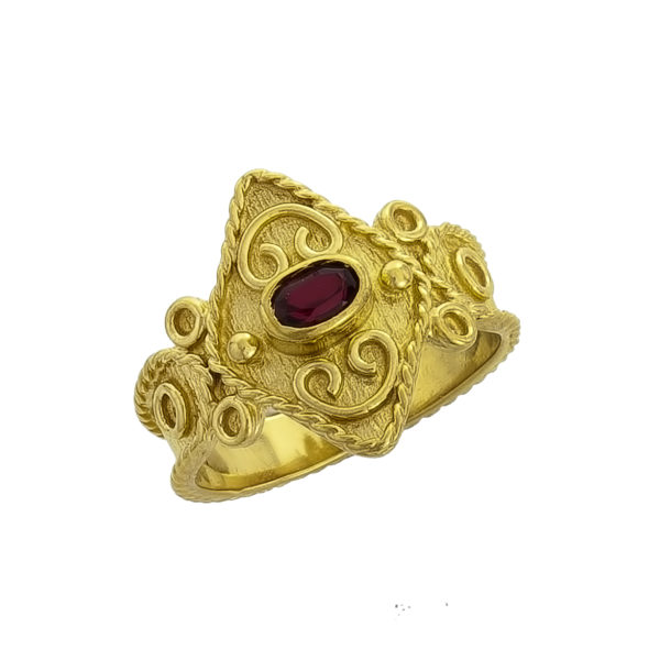 14K Gold, handmade, Byzantine ring with Ruby.