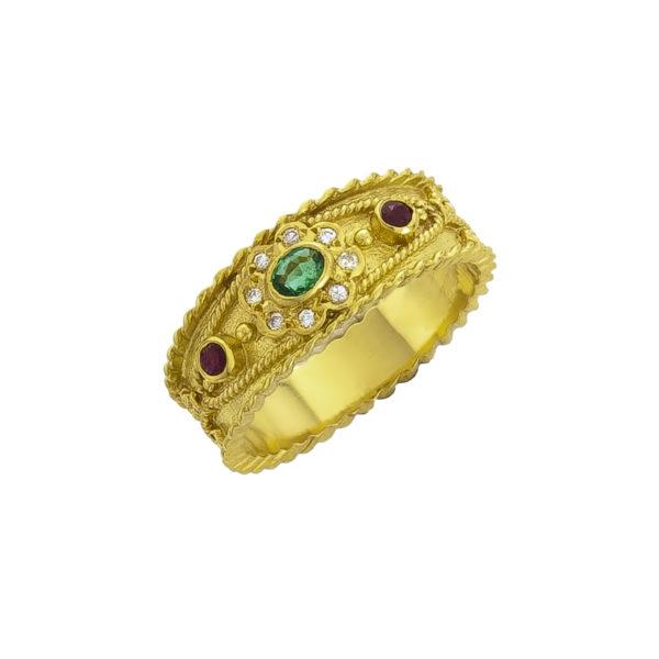 18K Gold handmade Byzantine ring with Emerald, Rubies and Diamonds.