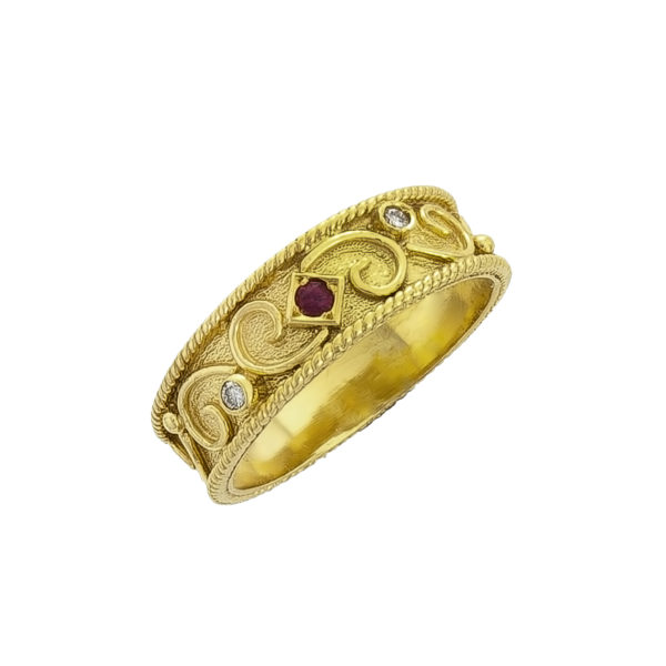 18K Gold, handmade Byzantine ring with Diamonds and Ruby.