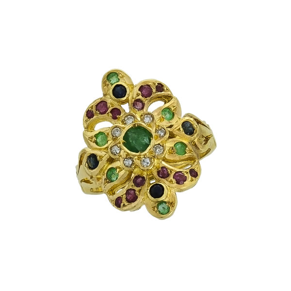 18K Gold, Byzantine, handmade ring with Rubies, Saphires, Emeralds and Diamonds.