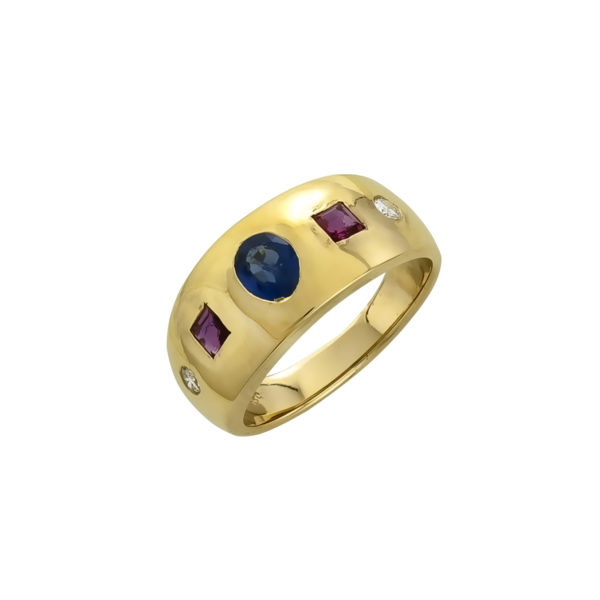 18K Gold Neo-Byzantine handmade ring with Sapphires, Rubies and Diamonds.