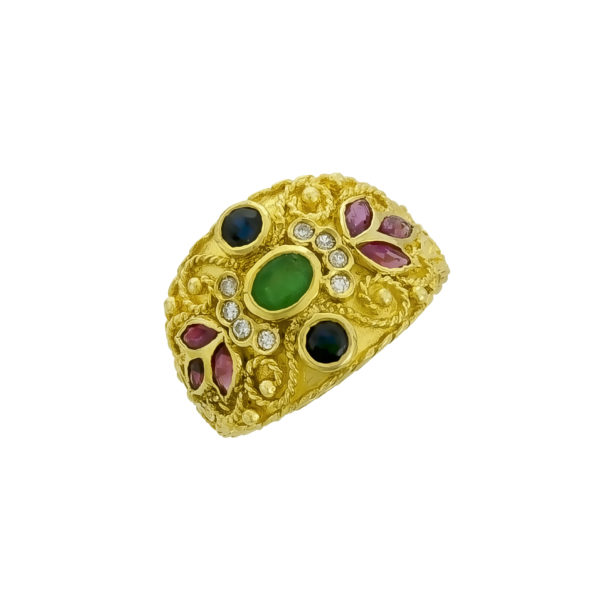 18K Gold, Byzantine, handmade ring with Emerald, Saphires, Rubies and Diamonds.