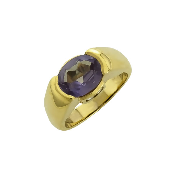 18K Gold handmade Amethyst and Diamonds ring.