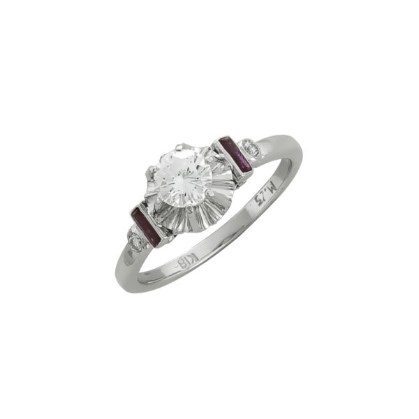 18K white Gold, handmade, Diamond ring with Rubies.