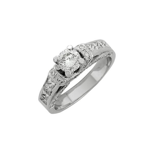 18K white Gold, handmade Diamond ring.