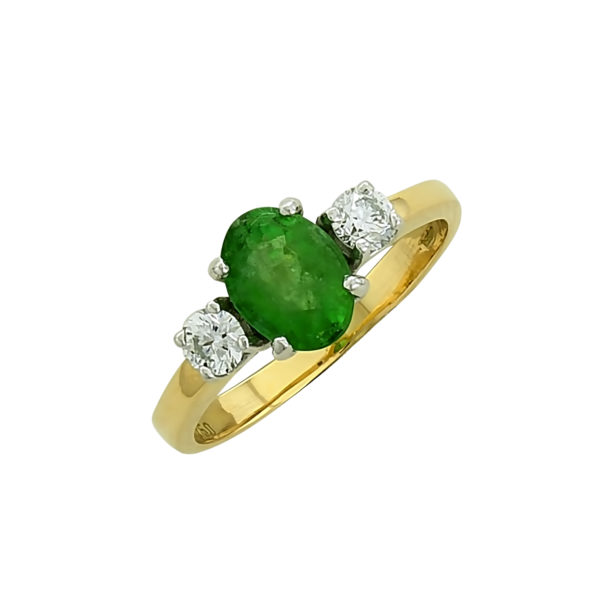 18K Gold, handmade, Diamond and Emerald ring.