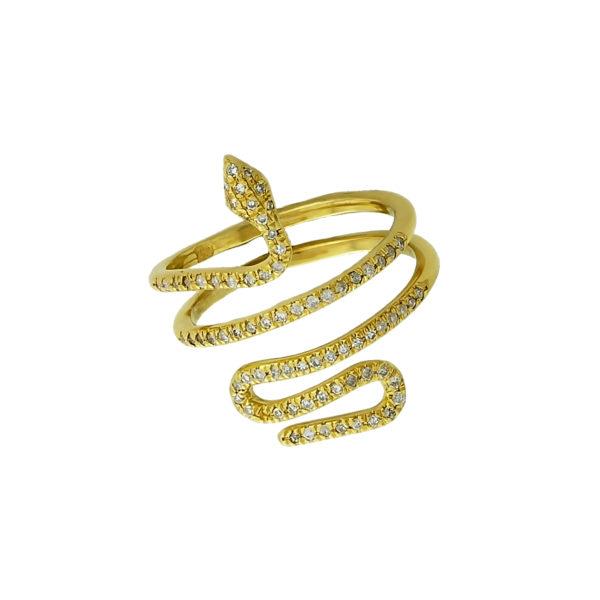 18k Yellow Gold Diamond Snake Ring.