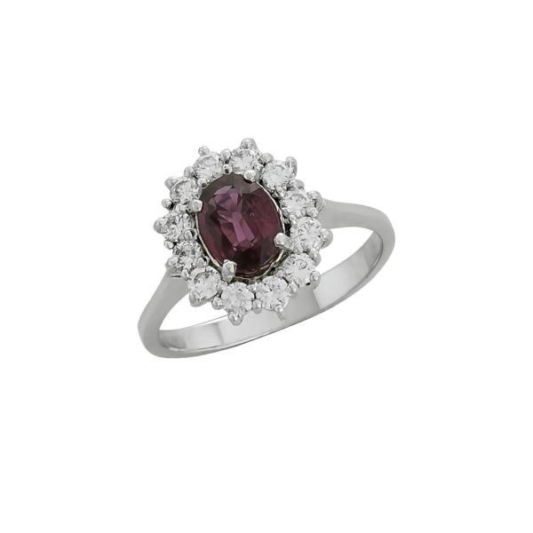 18K White Gold, handmade, Diamonds and Ruby rosette ring.
