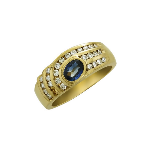 18K Gold, handmade, Sapphire and Diamond ring.