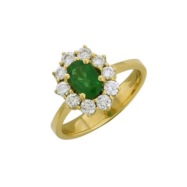 18K Gold, handmade, Diamonds and Emerald rosette ring.